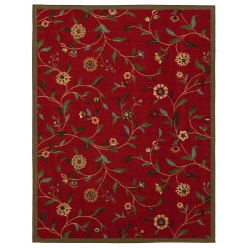 Ottohome Collection Floral Garden Design Dark Red 3 ft. x 5 ft. Non-Skid Area Rug