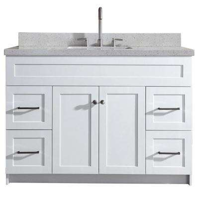 Hamlet 49 in. Bath Vanity in White with Quartz Vanity Top in White with White Basin
