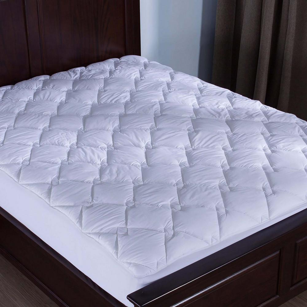 Puredown 100% Cotton Top Down Alternative Mattress Pad Diamond Quilted Queen
