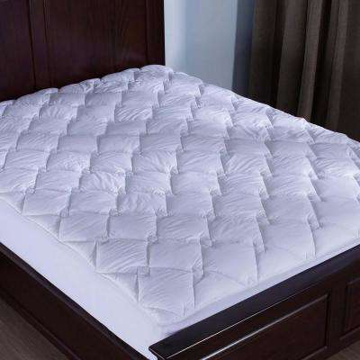 Puredown 100% Cotton Top Down Alternative Mattress Pad Diamond Quilted King in White