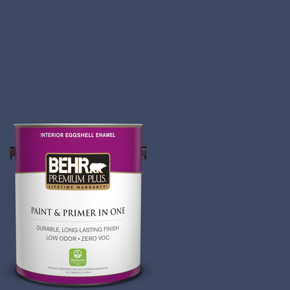 BEHR Premium Plus 1-gal. #610D-7 Night Watch Zero VOC Eggshell Enamel Interior Paint