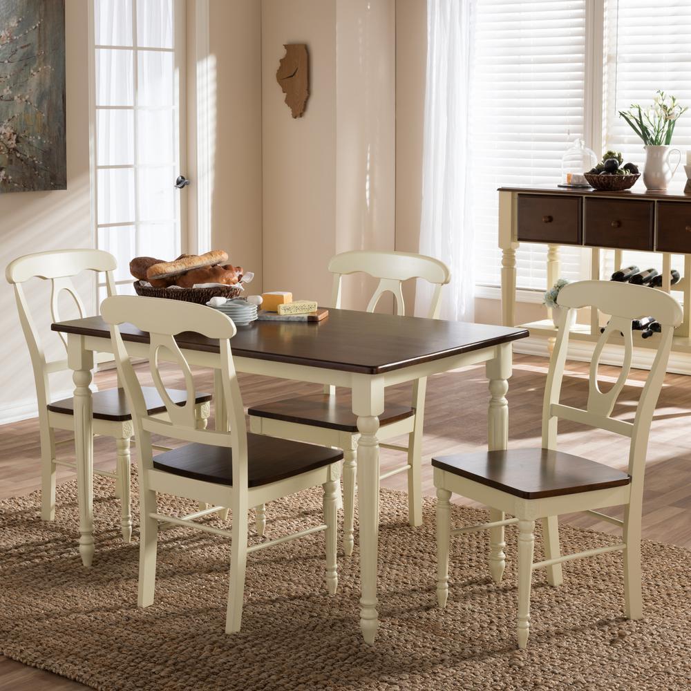Napoleon 5-Piece Buttermilk and Medium Brown Wood Dining Set