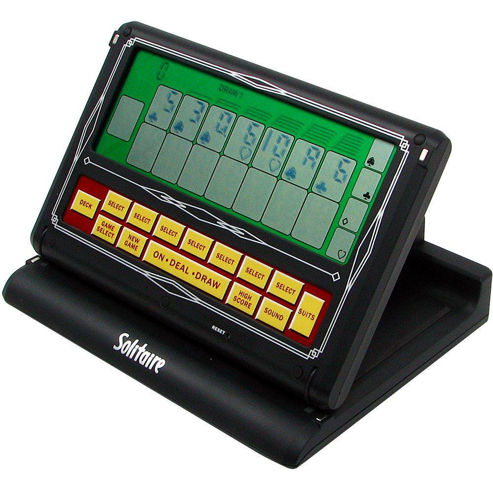 Trademark Games 2-in-1 Portable Video Solitaire Touch-Screen Game Looks like a computer but it's actually a laptop video solitaire game with a touch screen and two games in one. The screen slides easily closed and open in one smooth motion. This will make a great gift for the whole family.