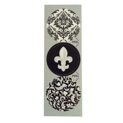 Black and White Ornate Decorative Bathroom Sink Stopper Laminates (Set of 3)