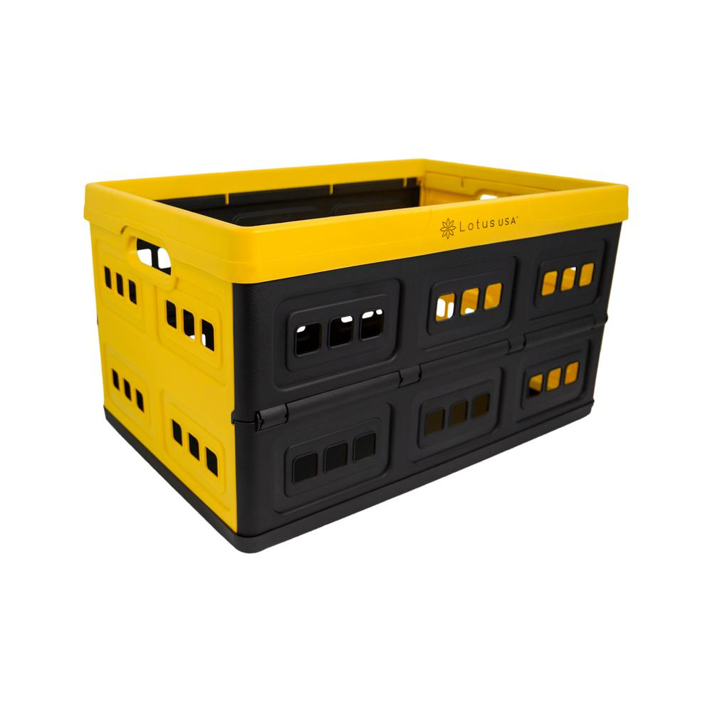Lotus USA Foldable 48 Qt. Perforated Storage Crate in Yellow/Black