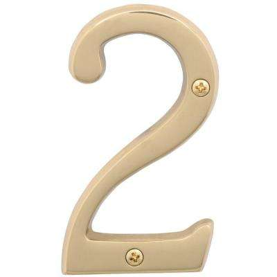 4 in. Bright Brass Classic House Number 2