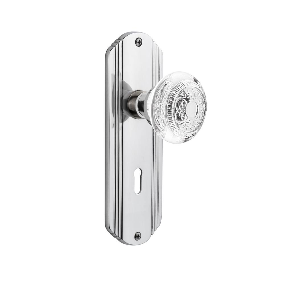 Nostalgic Warehouse 755344 Prairie Plate with Crystal Victorian Knob Single Dummy Surface Mounted Bright Chrome