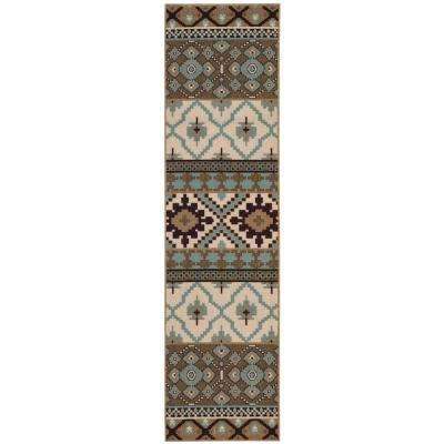 Veranda Cream/Brown 2 ft. 3 in. x 8 ft. Indoor/Outdoor Runner Rug