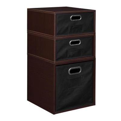 Cubo 13 in. x 26 in. Truffle 1 Full Cube and 2 Half Cube Organizer with Black Foldable Storage Bins