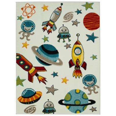 Multi-Color Kids and Children Bedroom and Playroom Aliens and Rocket in Outer Space 4 ft. x 5 ft. Area Rug