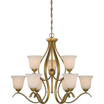 9-Light Natural Brass Chandelier with White Glass Shade