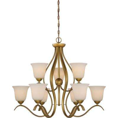 9-Light Natural Brass Chandelier with White Glass Shade  sc 1 st  Home Depot & Filament Design - Chandeliers - Lighting - The Home Depot azcodes.com