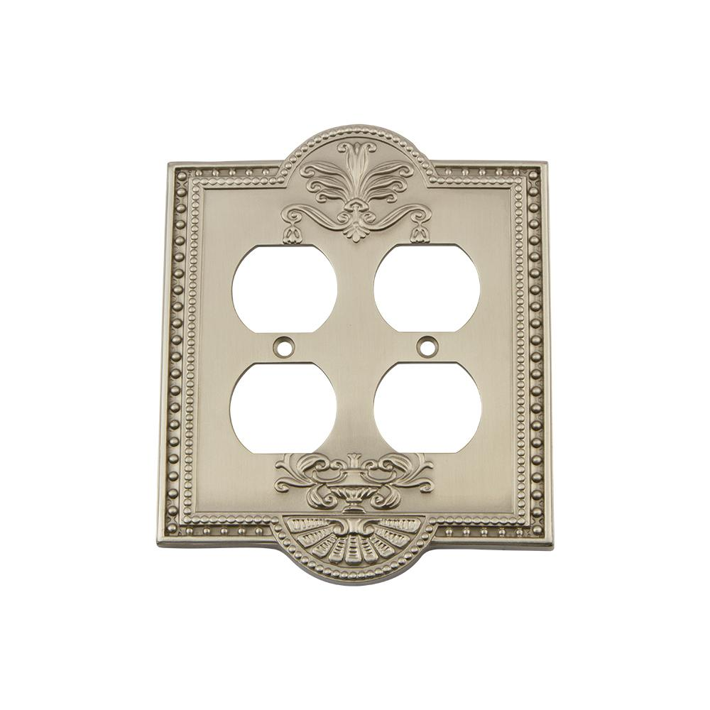 Meadows Switch Plate with Double Outlet in Satin Nickel