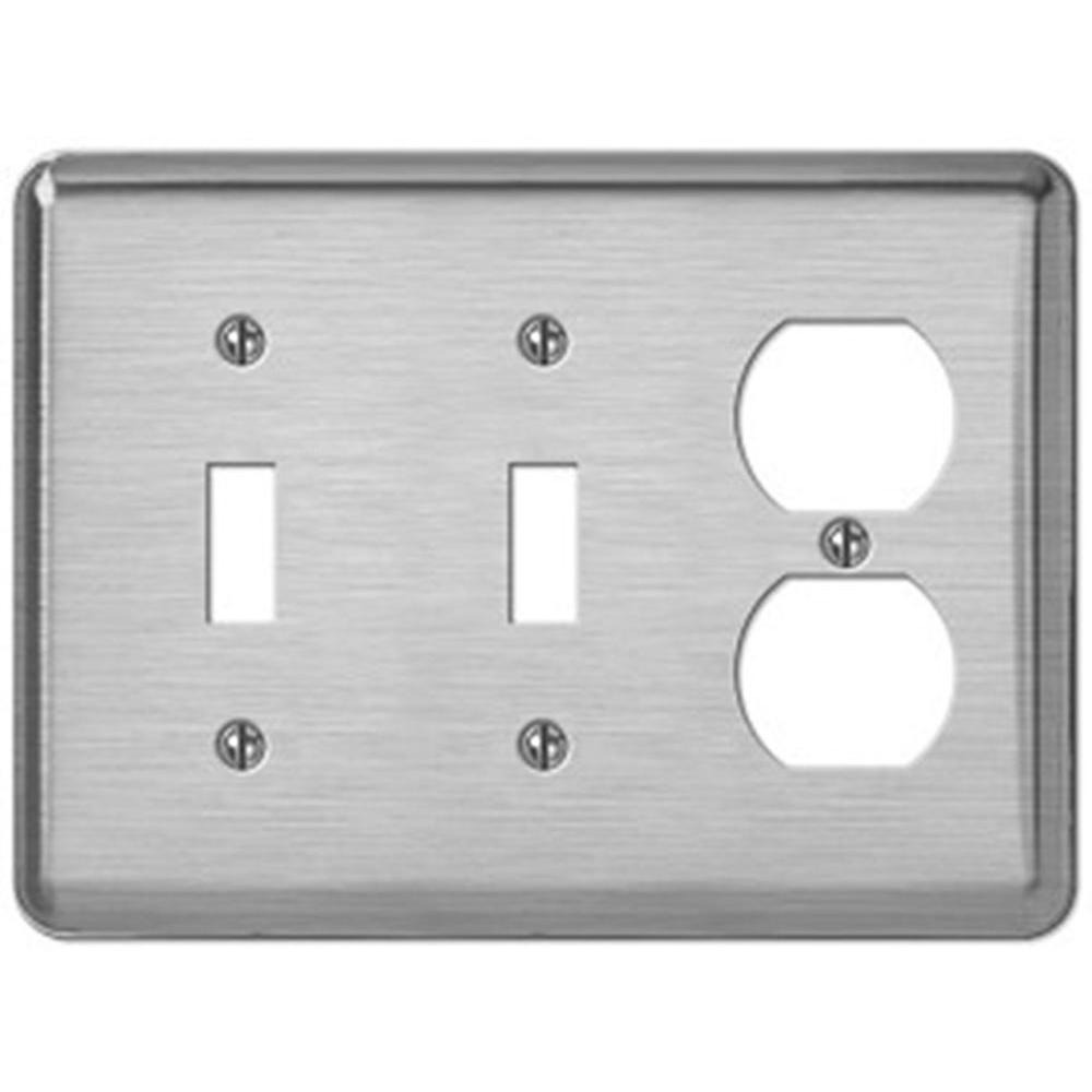 Creative Accents Steel 2 Toggle 1 Outlet Wall Plate - Brushed Chrome-DISCONTINUED