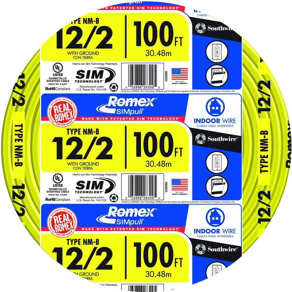 Southwire 100 ft. 12/2 Solid Romex SIMpull CU NM-B W/G Wire