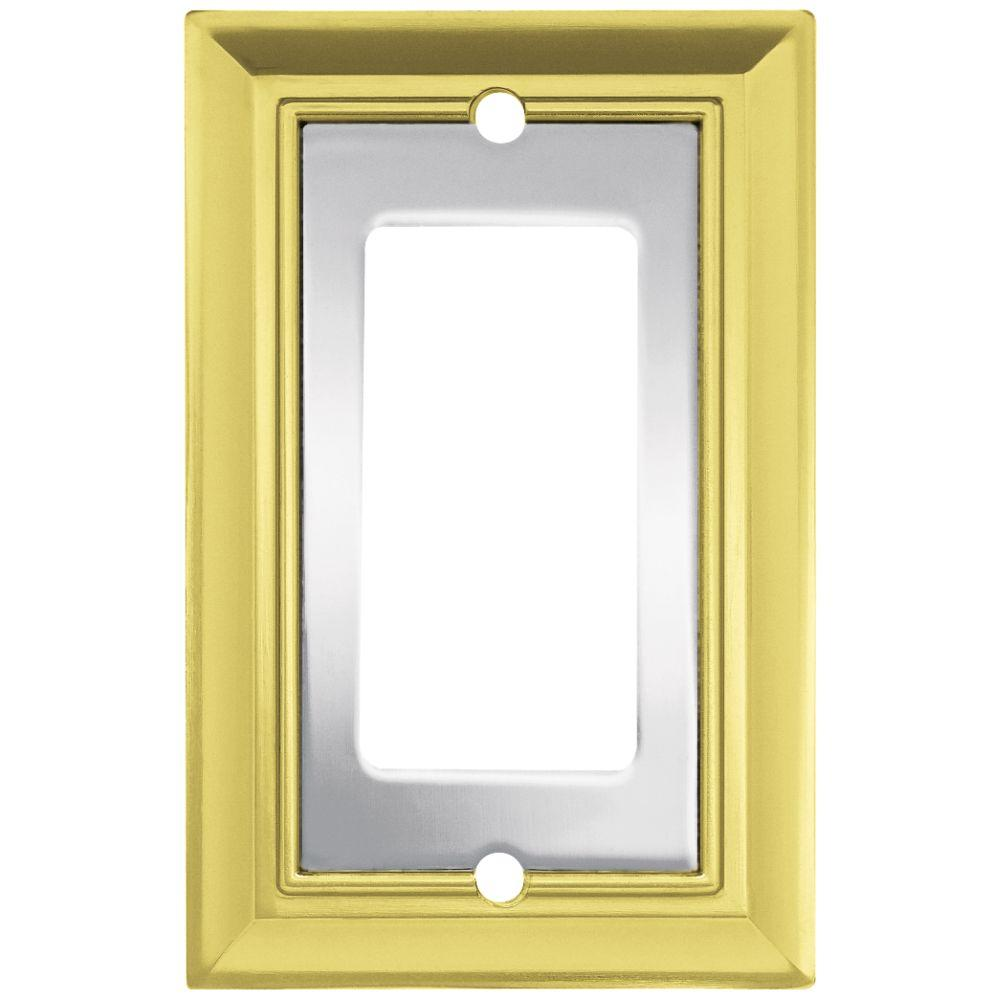 Liberty Architectural Die-Cast Zinc 1 Gang Rocker Switch Wall Plate - Polished Chrome and Brass