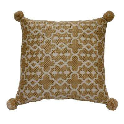 Tan Trellis Square Outdoor Throw Pillow