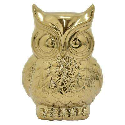 3 in. Ceramic Owl Money Bank Gold
