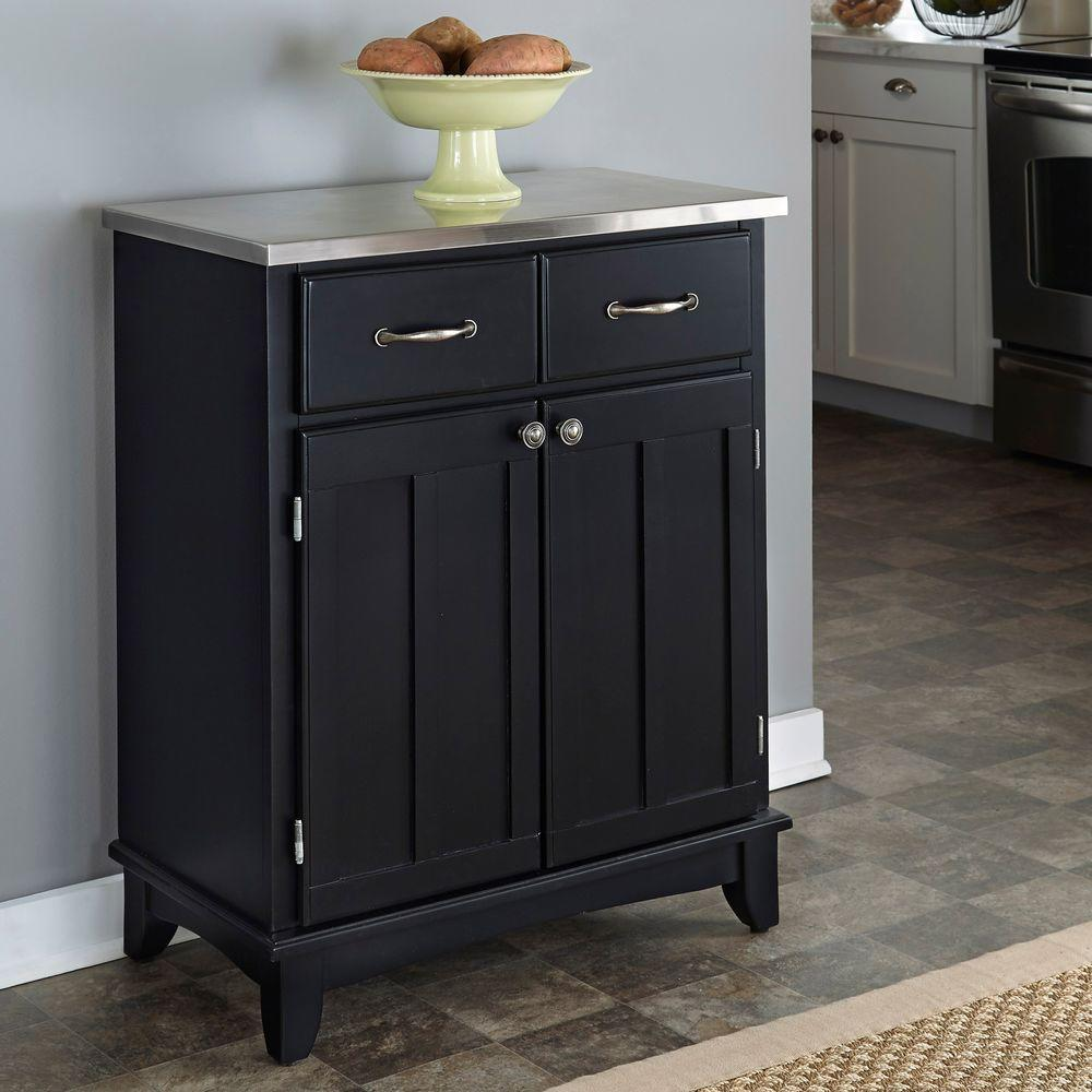 Home Styles Black and Stainless Steel Buffet