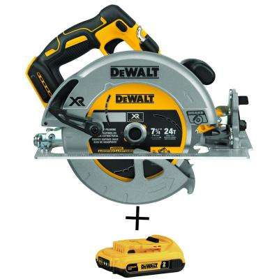 20-Volt MAX XR Cordless Brushless 7-1/4 in. Circular Saw with Brake (Tool-Only) with Free 20-Volt Battery 2.0Ah