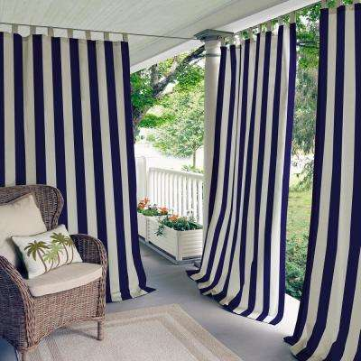 navy and gray curtains imperial trellis highland stripe 50 in 84 indooroutdoor tab top blue curtains drapes window treatments the home depot
