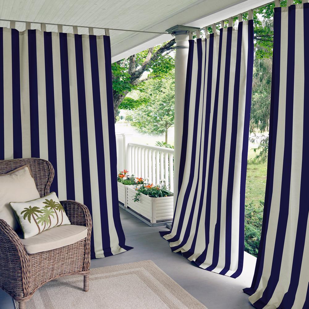 Highland Stripe 50 in. W x 95 in. L Indoor/Outdoor Tab Top Window Curtain Navy