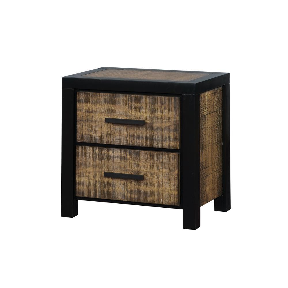 Williams home furnishing hamberg black and oak rustic style nightstand cm7693n the home depot