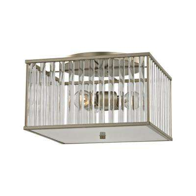 Ridley 3-Light Aged Silver with Oval Glass Rods Semi-Flushmount