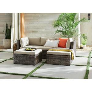 Hampton Bay Valley Peak 3-Piece All-Weather Brown Wicker Sectional Patio Set with Beige Cushions