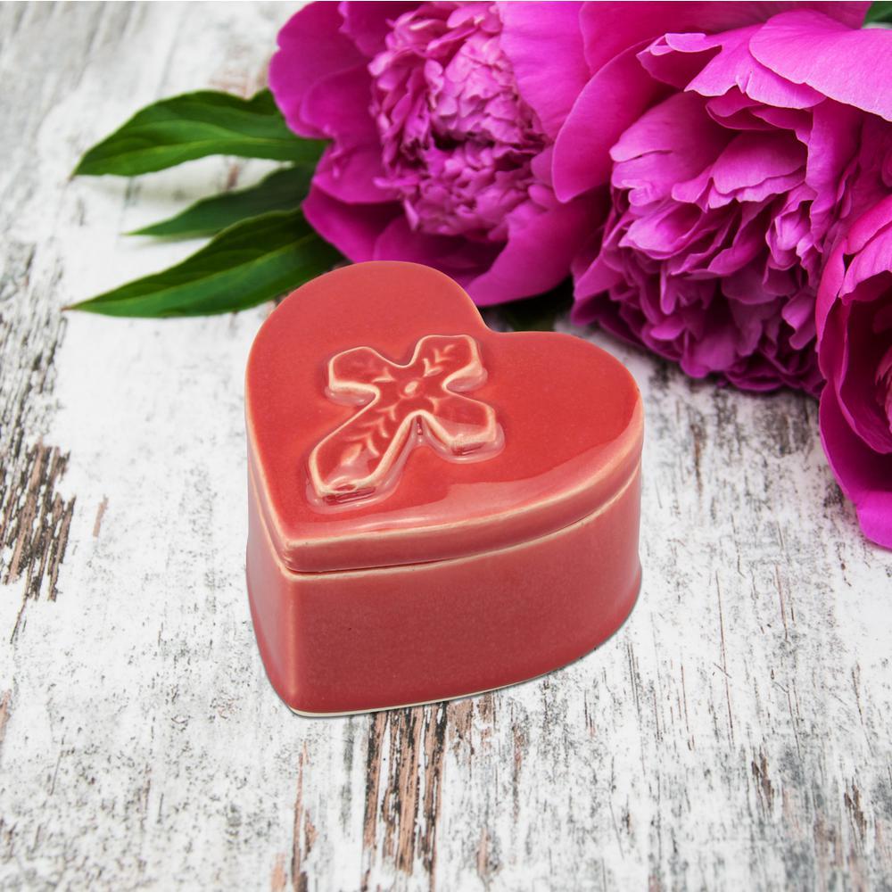 4 in. x 2.75 in. Red Ceramic Heart Shaped Cross Trinket Box