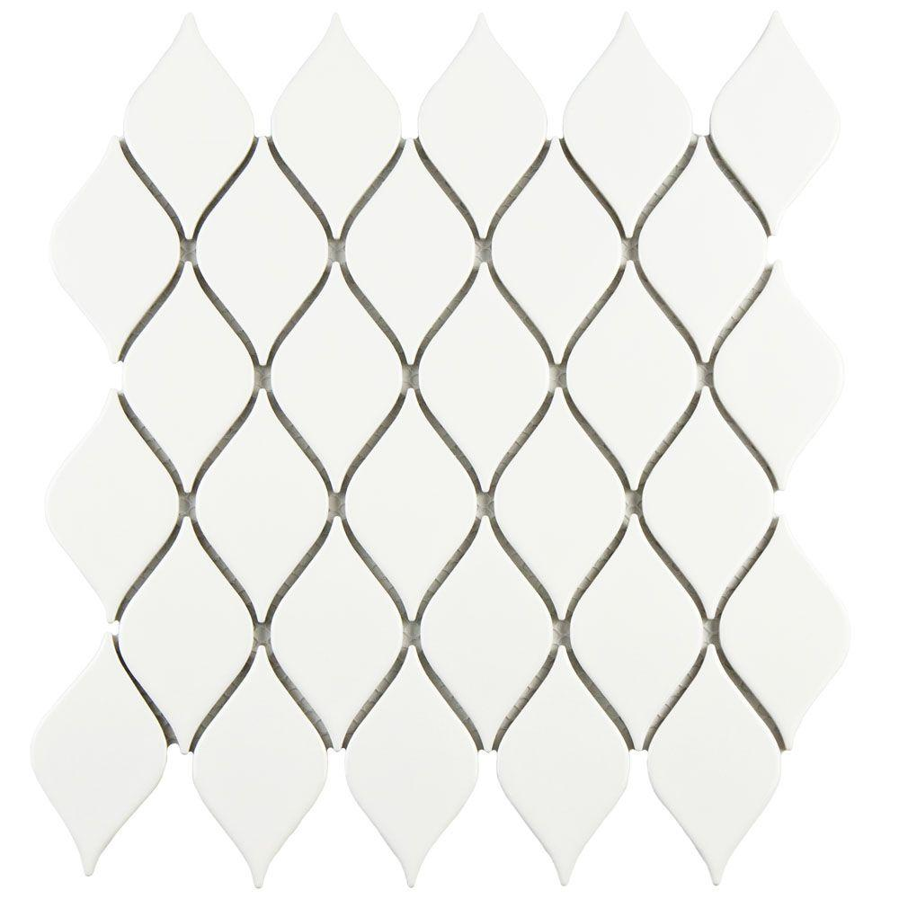 Merola Tile Adagio Glossy White 10-5/8 in. x 11-1/8 in. x 5 mm Porcelain Mosaic Tile