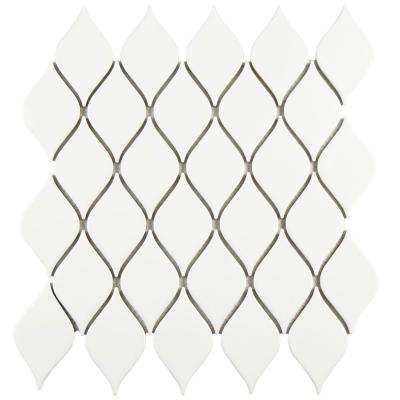 Adagio Glossy White 10-5/8 in. x 11-1/8 in. x 5 mm Porcelain Mosaic Tile