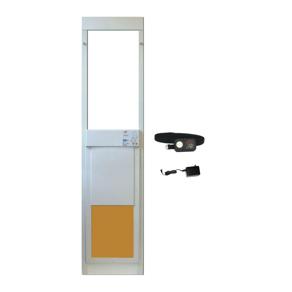 High Tech Pet 12 in. x 16 in. Power Pet Electronic Patio Pet Door for Sliding Glass Doors (Includes Ultrasonic Waterproof Collar)