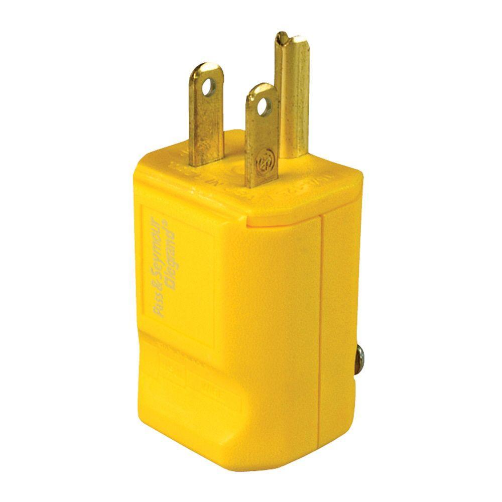 legrand pass and seymour 15 amp 125-volt yellow grip plug