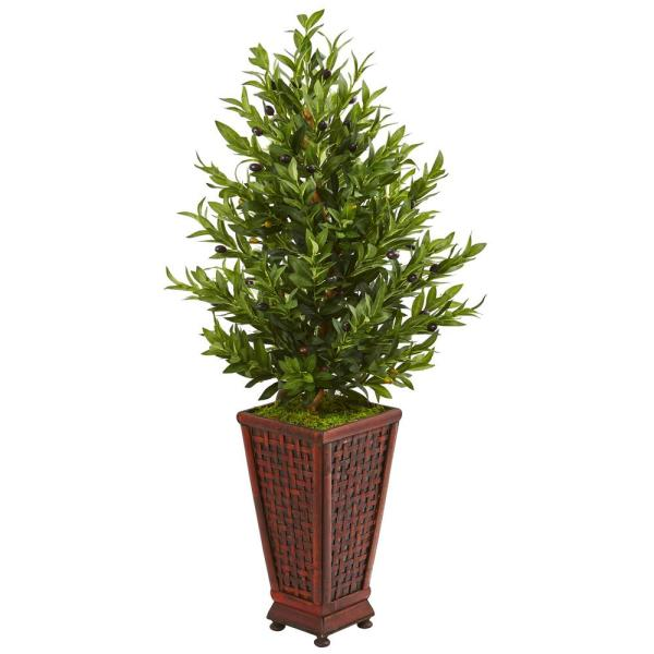 Nearly Natural Indoor 46-In. Olive Cone Topiary Artificial Tree in Decorative