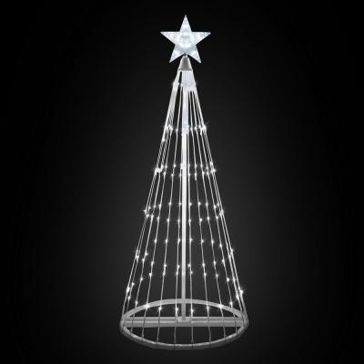 72 in. Christmas Cool White LED Animated Lightshow Cone Tree with 202 Lights and Star Topper