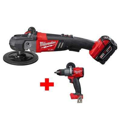 M18 FUEL 18-Volt Lithium-Ion Brushless Cordless 7 in. Variable Speed Polisher Kit with Free M18 FUEL Hammer Drill