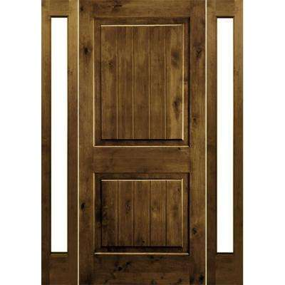 58 in. x 80 in. Rustic Alder Square Provincial Stained Wood with V-Groove Right Hand Single Prehung Front Door