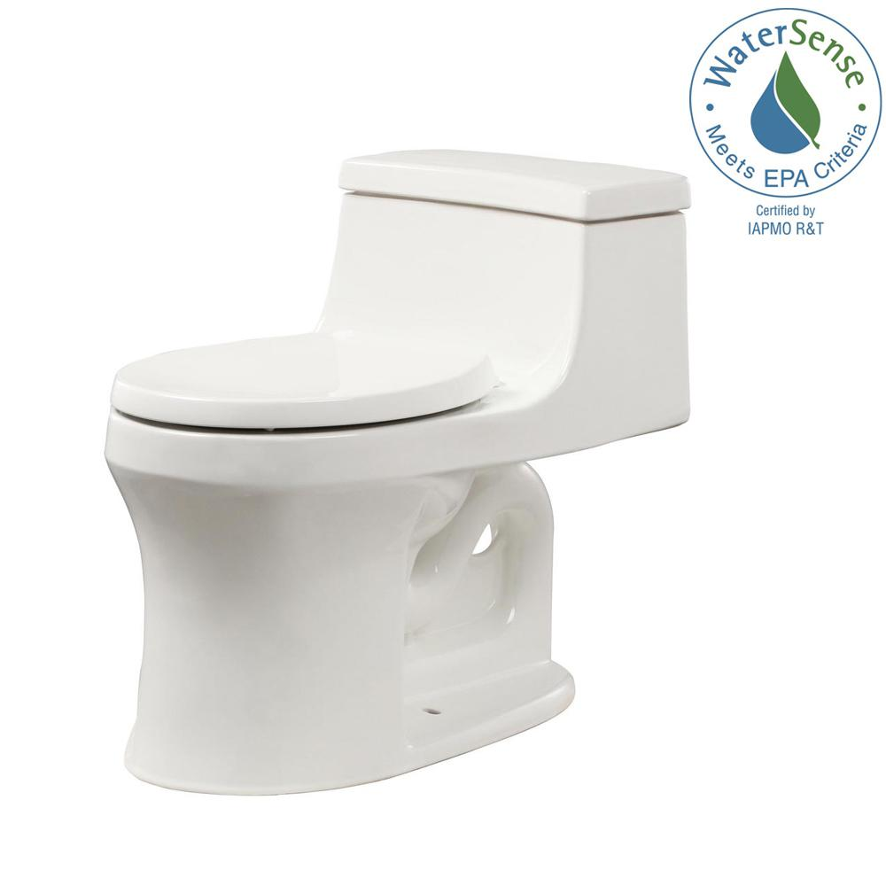 San Souci 1-piece 1.28 GPF Single Flush Round Toilet in White