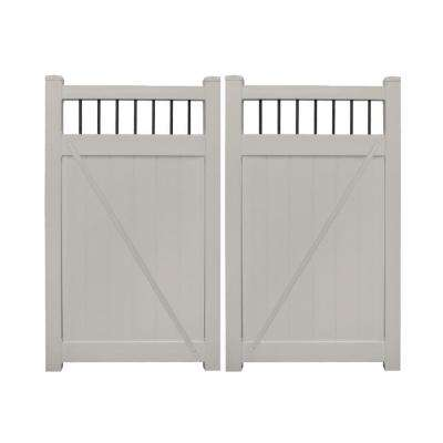 Bradford 7.4 ft. W x 6 ft. H Tan Vinyl Privacy Fence Double Gate Kit