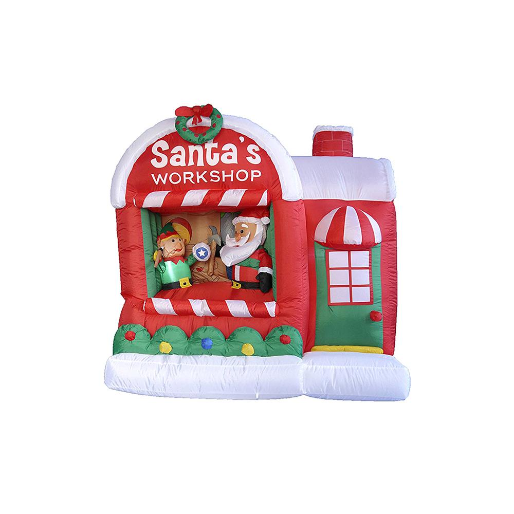 Christmas Inflatable Lighted Santa Claus Workshop Outdoor Decoration