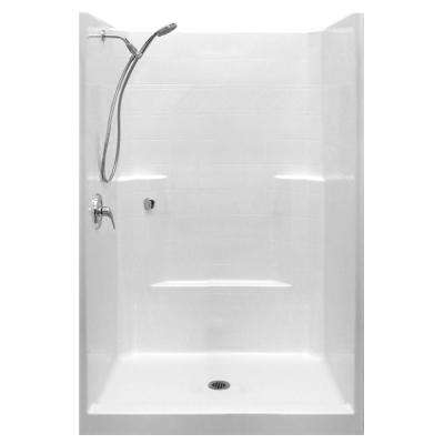 Standard-SA 42 in. x 42 in. x 80 in. 1-Piece Low Threshold Shower Stall in White with LHS Shower Kit and Center Drain