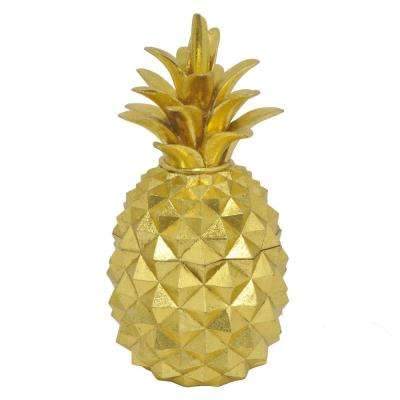 10.75 in. Decorative Gold Resin Pineapple Covered Jar