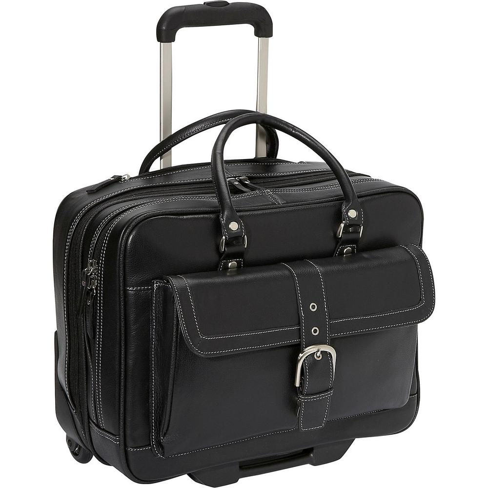 Black Lightweight Pebbled Leather Dual Compartment 2-Wheel 15.6in Laptop