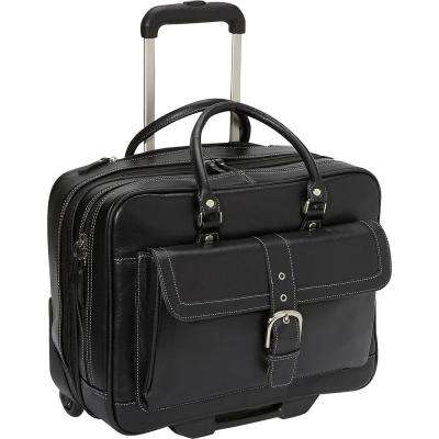 Black Lightweight Pebbled Leather Dual Compartment 2-Wheel 15.6in Laptop Business Tote/Carry On Bag