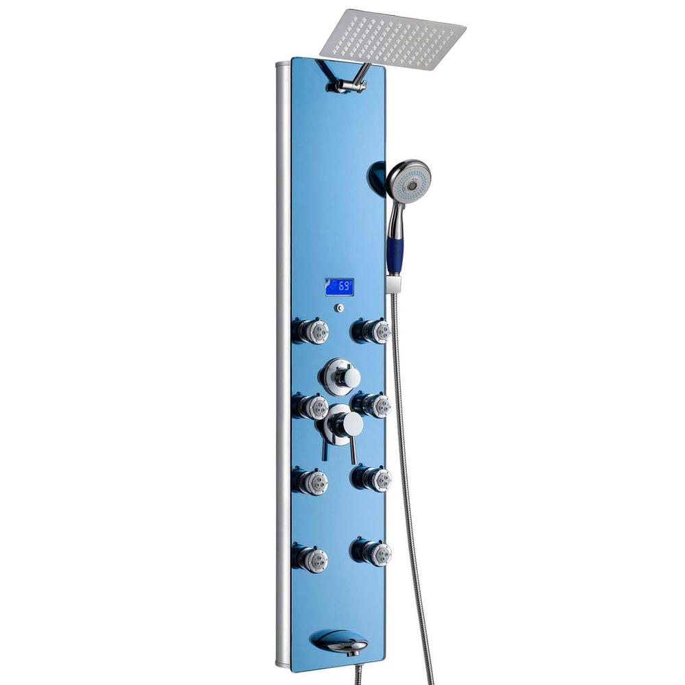 AKDY 52 in. 8-Jet Shower Panel System in Blue Tempered Glass with Rainfall Shower Head, LED Display, Handshower, Tub Spout
