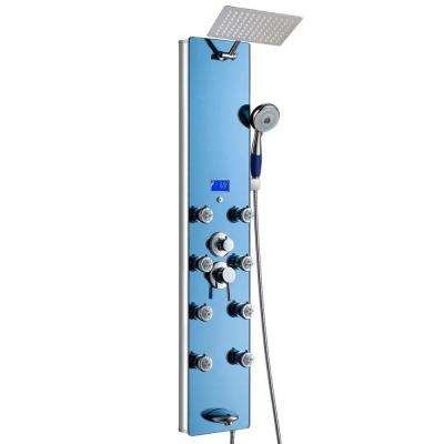 52 in. 8-Jet Shower Panel System in Blue Tempered Glass with Rainfall Shower Head, LED Display, Handshower, Tub Spout