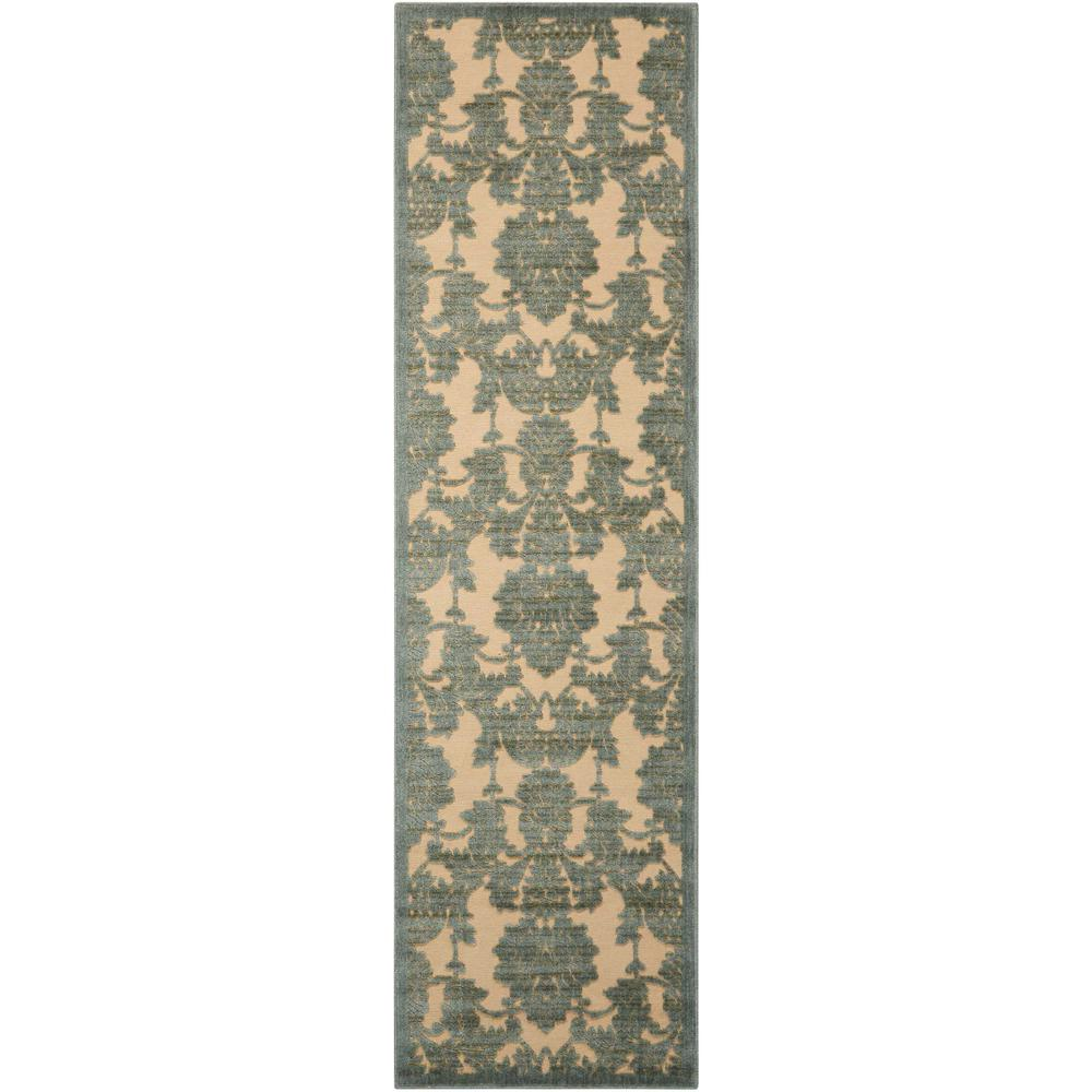 Nourison Graphic Illusions Teal 2 ft. x 8 ft. Runner Rug