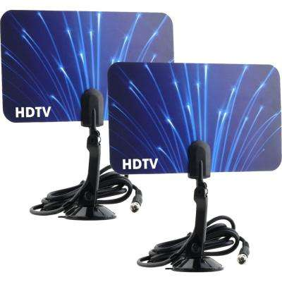 2-Digital Flat Thin Leaf TV Antenna HDTV Antenna UHF/VHF FM Radio 2x  (2-Pack)