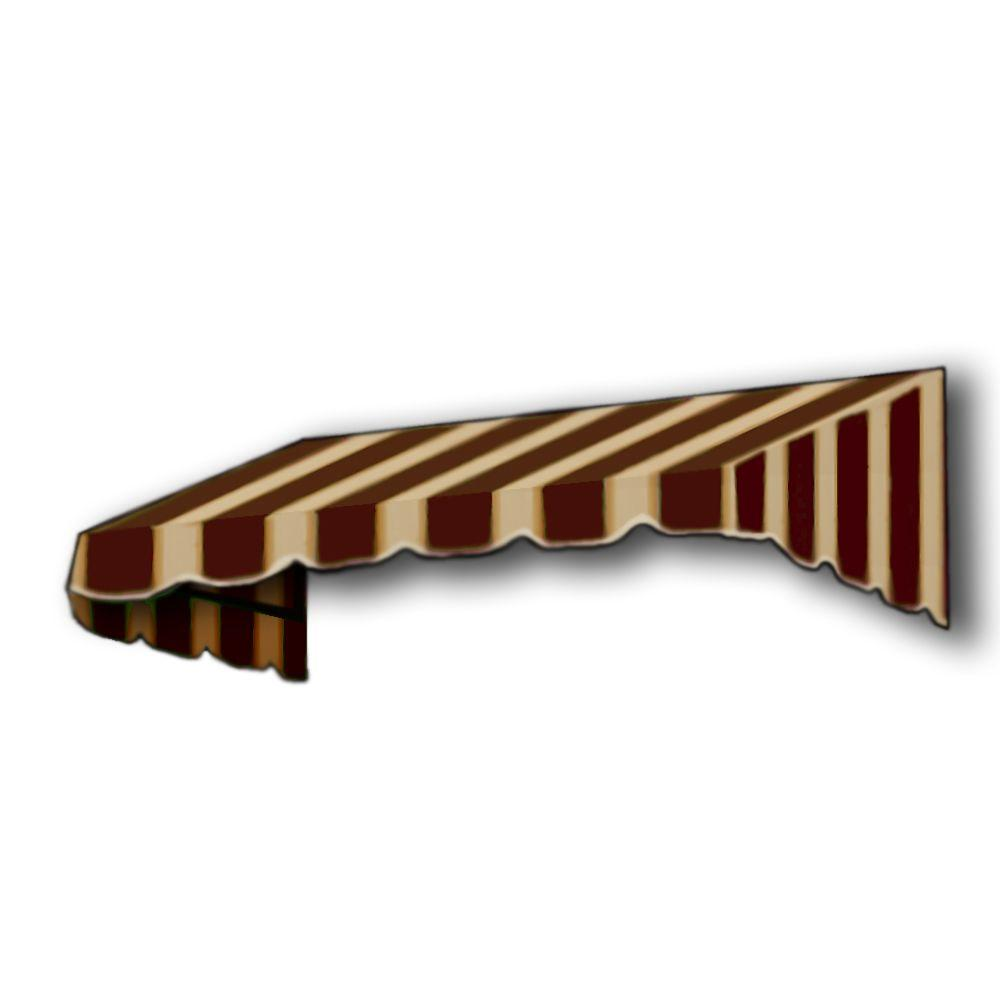 AWNTECH 5 ft. San Francisco Window/Entry Awning Awning (18 in. H x 36 in. D) in Brown / Tan Stripe